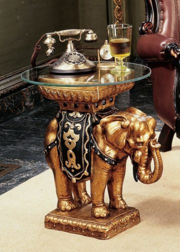 Golden Elephant Glass Topped Table