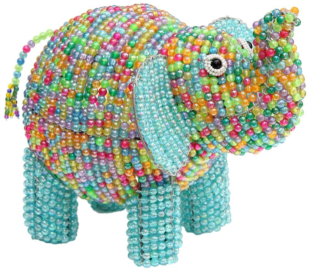 Colorful Elephant Hand-Crafted Beaded Night Light