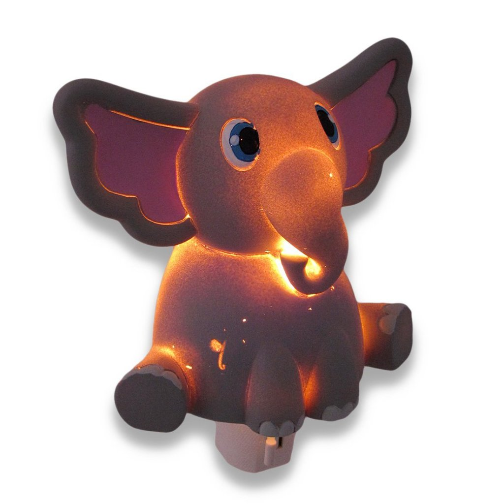 Whimsical Gray Elephant Childrens Night Light