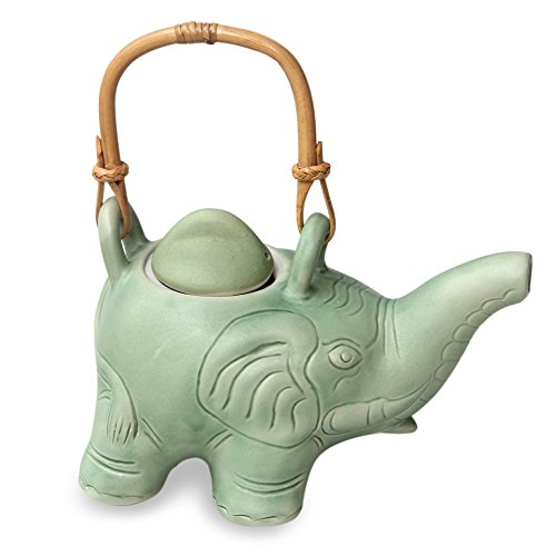 Unique Light Green Elephant Shaped Indonesian Ceramic Teapot