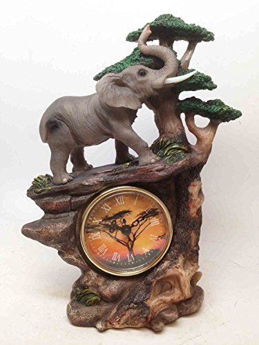 Elephant Walking In Wild Safari Jungle Table Clock Home