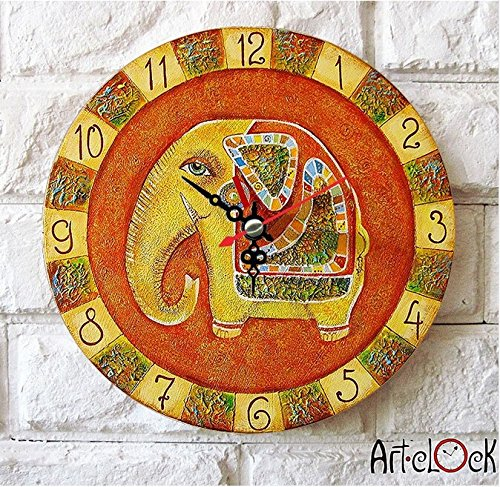 Elephant Design Retro Style Decorative Round Wall Clock