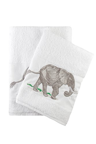 Elephant Embroidered White Bath and Hand Towel Set
