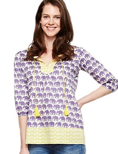 Beautiful Elephant Print Tasseled Tunic for Women
