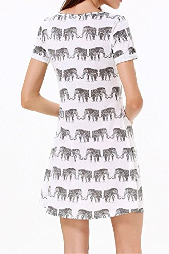 Cute Elephant Print Loose Dress