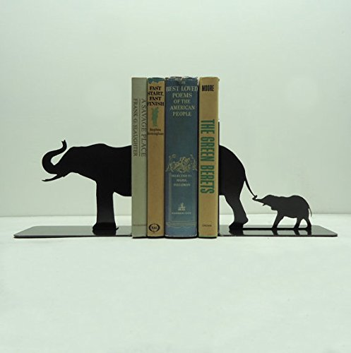 Steel Elephant Family Bookends