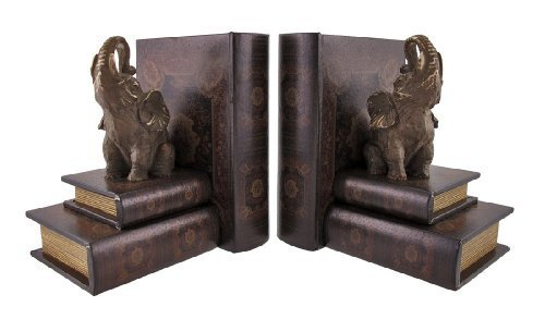 Cool Leather Books and Lucky Elephant Bookends