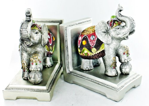 Beautiful Silver Jeweled Elephant Bookends