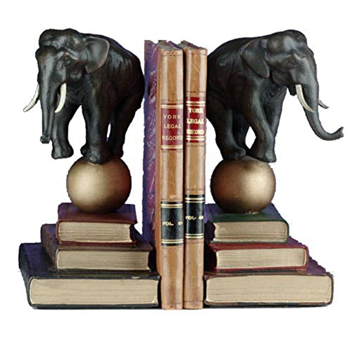 Tall Elephant on Ball Bookends