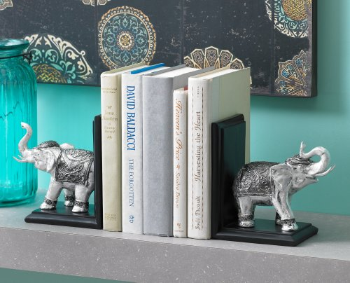 Silver and Black Elephant Bookends