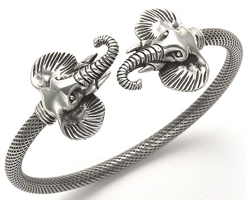 Sterling Silver Elephant Heads with Curled Trunks Flex Bangle