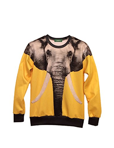 Elephant Print Yellow Sweatshirt