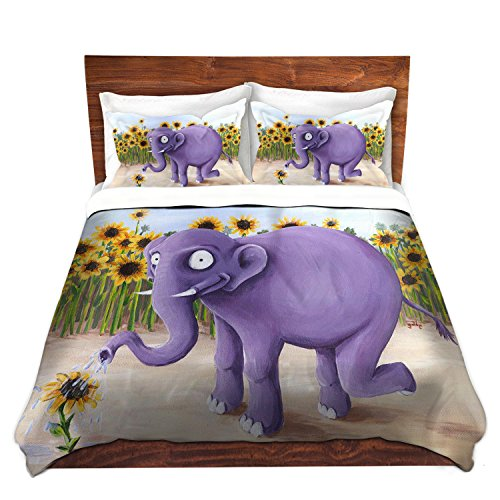 Purple Elephant Soft Brushed Duvet Cover Set