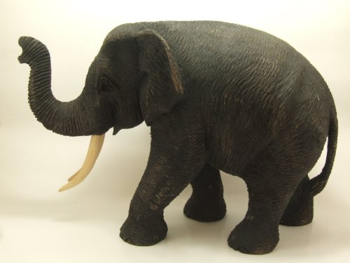 Realistic Handcrafted Teak Wood Elephant