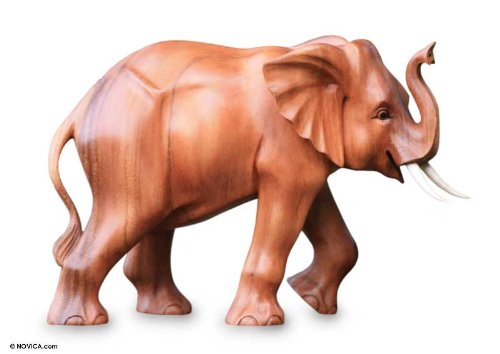 Cute Wood Elephant Statue