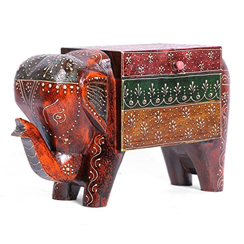 Beautiful Wooden Elephant Decorative Jewelry Box