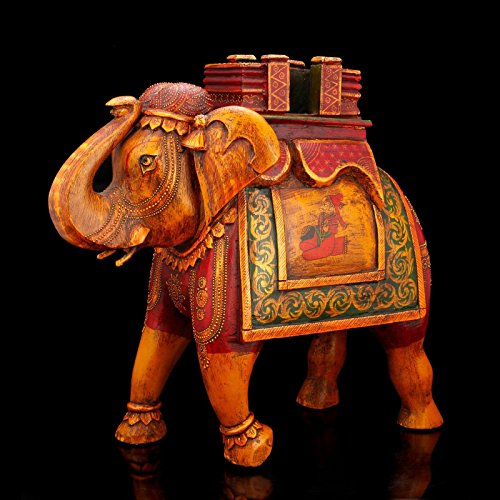 Large Good Luck Wood Elephant Statue