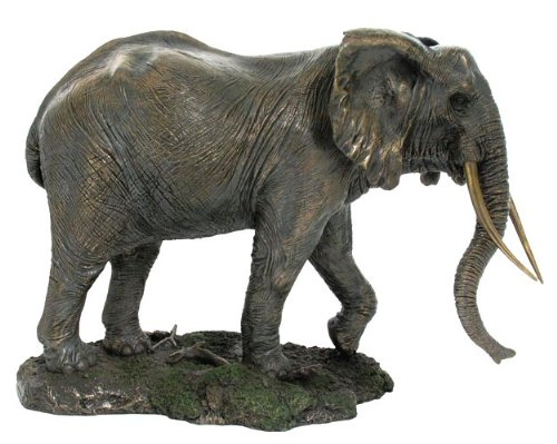 Large Bronze Walking Elephant Figure