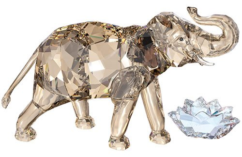 Golden Swarovski Crystal Elephant Figurine