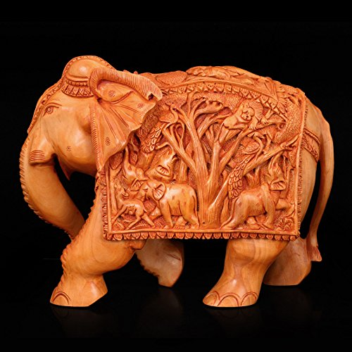 Large Handmade Wooden Elephant Statue