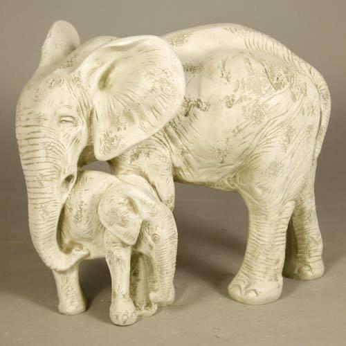 Bull Elephant and Calf Fiberglass Garden Statue
