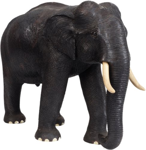 Realistic Wood Elephant Statue