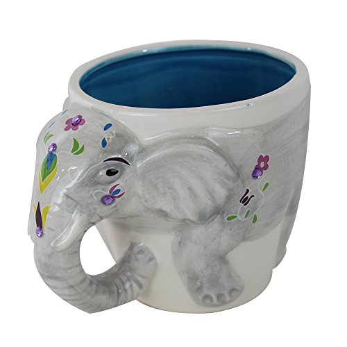 Hand-Painted Colorful Indian Elephant Shaped Ceramic Novelty Coffee Mug
