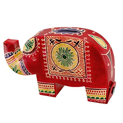 Colorful Leather Lucky Elephant Coin Bank