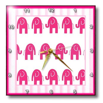Pink Elephants Square Shape Wall Clock