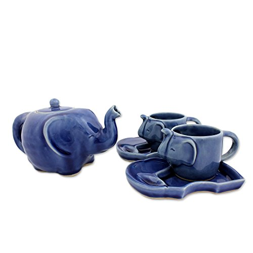 Blue Elephant Tea Set