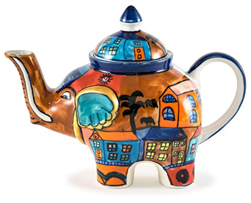 Hand-Painted Cityscape Ceramic Elephant Teapot