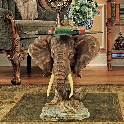 Elephant Head Glass-Topped Table