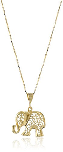 14k Gold Elephant Pendant Necklace
