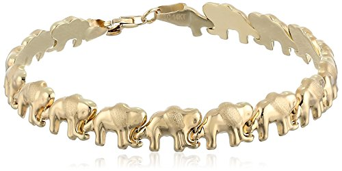 14k Yellow Gold Elephant Link Bracelet