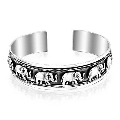 Sterling Silver Lucky Elephant Open Cuff Bracelet