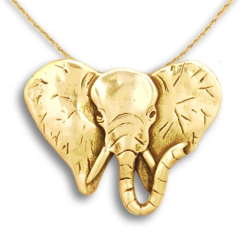 14k Gold Elephant Pin Pendant