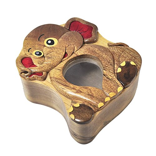 Handmade Elephant Wooden Money Box Piggy Bank